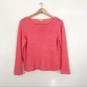 Eileen Fisher Linen Coral Pink Knit Sweater Top L
